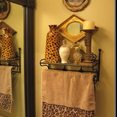 Boy's bathroom decor but with more animal print accessories.