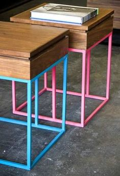 These little side tables are walnut boxes with lift-off lids, so magazines, coasters and remote controls can be stowed out of sight; the bases are powder-coated steel. store Matters of Space. Neon Furniture, Small Furniture, Metal Furniture, Accent Furniture, Rustic Furniture, Furniture Design, Furniture Stores, Baby Decor, Wood Design