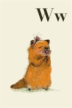 W fo woodchuck - Alphabet art - Alphabet print - ABC wall art - ABC print - Nursery art - Nursery decor - Kids room decor - Children's art Nursery Decor Boy, Nursery Art, Woodland Nursery, Room Decor, Abc Wall, Wall Art, Alphabet Print, Alphabet Letters, Animal Alphabet