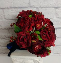 Red ranunculus wedding bouquet Silk wedding flowers Brides