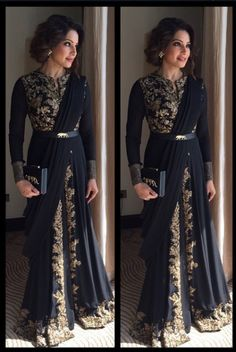 Black and gold sari inspired gown
