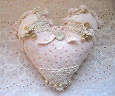 sale ......Fabric ooak heart pillow pretty pale di sandymastroni