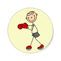 Stick Figure Boxing Tshirts and Gifts Round Stickers