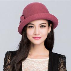 New Fashion Lady Women Fur Adornment Wool Felt Hat Baret Bowler Derby Hat Cap #Toptri #BowlerDerby