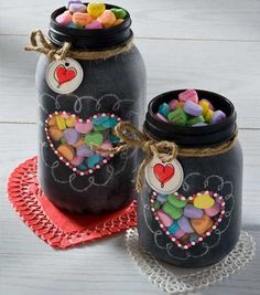Best Mason Jar Valentine Crafts - Valentine Chalkboard Mason Jars - Cute Mason Jar Valentines Day Gifts and Crafts | Easy DIY Ideas for Valentines Day for Homemade Gift Giving and Room Decor | Creative Home Decor and Craft Projects for Teens, Teenagers, Kids and Adults http://diyprojectsforteens.com/mason-jar-valentine-crafts