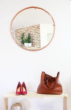round mirror trends, copper mirror diy, large round mirror diy