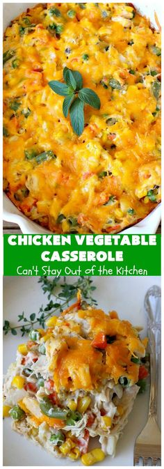 Chicken Vegetable Casserole   Can't Stay Out of the Kitchen   this #chicken #casserole is a delicious one-dish meal for busy week night dinners. We found it sumptuous as well as economical! Great way to use up leftover #RotisserieChicken too. #ChickenCasserole #ChickenVegetableCasserole #CheddarCheese #MixedVegetables
