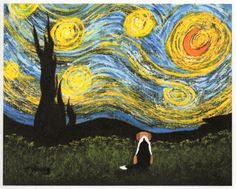 Beagle Foxhound Dog Modern Folk Art PRINT of Todd Young painting Under a Starry Night. $12.50, via Etsy.