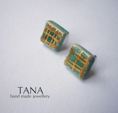 Ceramic earrings, turquoise squares and gold lines