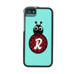 Cute Adorable Sweet Lady Bug Initial Monogram Cover For iPhone 5