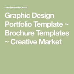 Graphic Design Portfolio Template ~ Brochure Templates ~ Creative Market