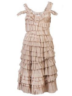 Lace Layers Ruffles Lanvin Vault sleeveless tiered ruffles Dress