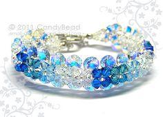 A blue Swarovski crystal bracelet to match! By CandyBead on Etsy