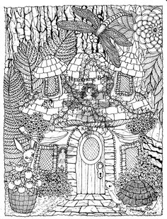 Free coloring page coloring-difficult-hidden-animals. Hidden animals in a magnificient drawing to color !