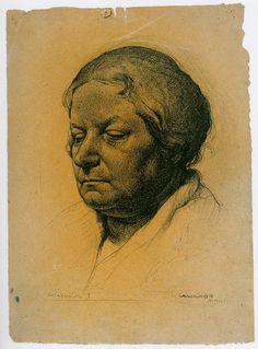 """Artinvest2000. Pietro Annigoni  """"Mia Madre"""" 1928, matita su carta, 33x25.5 cm."""