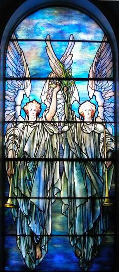First Presbyterian Church, Lockport 21 Church Street, Lockport. NY 14094 Angels carrying trumpets window, designed by Tiffany Studios