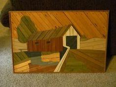 COVERED BRIDGE BY THEODORE DEGROOT VINTAGE WOOD LATH FOLK ART