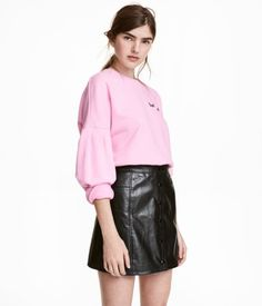 Short skirt | Black/Imitation leather | LADIES | H&M TH