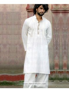 Cotton Embroidered Shalwar Kameez for Men, Plain Kurta Collar, Off-White