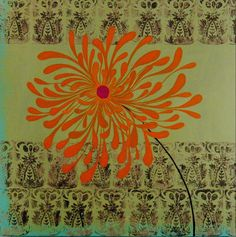 stamped fabric under embroidered flower