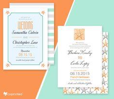 FREE Starfish Wedding Invitations For Beach Weddings template #free printable…