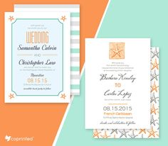 FREE Starfish Wedding Invitations For Beach Weddings template #free printable…
