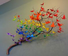 rainbow cranes on branch  http://collegelifediy.tumblr.com/post/8177081665/via-inspiration-origami-cranes