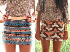Aztec Patterned Skirts. I want the one on the right! (: