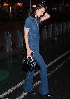 Details: The younger sister of supermodel Gigi Hadid finished her look with black pointed stilettos and a matching leather handbag