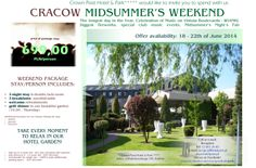 Special prices for Midsummer's Even in Cracow! Stay with us between 18 - 22th of June and buy a special package in Crown Piast Hotel! This year Cracow offers incredible events - The Fête de la Musique. Check the program: http://www.wianki.krakow.pl/en/3/0/280/the-f%C3%AAte-de-la-musique  www.hotelpiast.pl www.facebook.com/crownpiasthotelpark  #cracow #crownpiasthotelpark #wianki #krakow #hotel