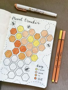 March Bullet Journal Bumblebee Honeycomb Mood Tracker Yellow and Orange Bullet Journal Tracker, Bullet Journal Paper, April Bullet Journal, Bullet Journal Lists, Creating A Bullet Journal, Bullet Journal Cover Ideas, Bullet Journal Lettering Ideas, Bullet Journal Aesthetic, Bullet Journal School