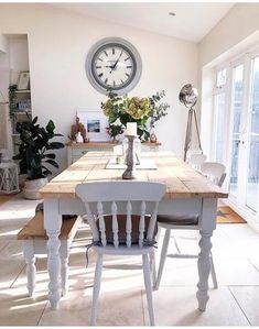 Farmhouse Table and Chairs - Any Size or Colour handmade in the UK – Country Life Furniture - Quality Interiors Cottage Shabby Chic, Rustic Shabby Chic, Wood Interior Design, Interior Exterior, Interior Modern, Dining Room Design, Dining Room Table, Design Kitchen, Shabby Chic Kitchen Table And Chairs
