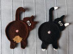 Flat cat coasters - Podstawki płaskie kotki #amigurumi #crochet #handmade