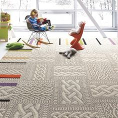 Gorgeous Carpet Tiles Design at Modern Kids Room with Mini Chair and Rocking Chairs Lightened Well with Large Mirror, Decoration Design, Deco Design, Tile Design, Design Bathroom, Bathroom Ideas, Living Room Paint, My Living Room, Carpet Tiles, Rugs On Carpet