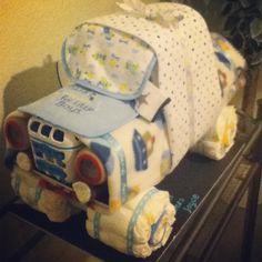 Diaper Truck! Made for baby shower gift.