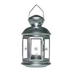"""Silver steel/glass lantern from Ikea, 8-1/4"""" tall, suitable for tealight. Suitable for indoor/outdoor use.  $3.99"""