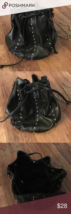 Faux leather bucket cross body purse with studs. Lovely little faux leather bucket bag with generous chain strap. Bags Crossbody Bags