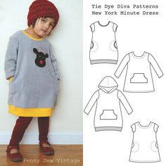 Sew a quick and cozy dress in a New York minute! Designed for stable knits like anti-pill fleece, polar fleece, sweatshirt fleece, velour, pique, i...
