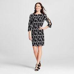 Women's Geometric Printed 3/4 Sleeve Shift Dress - Studio One