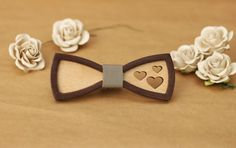 Little 3D Wooden Bow Tie for women. With grey leather and hearts. Gift for girl, for mother. by BuffBowTie on Etsy