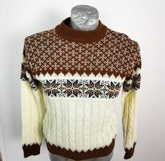 Kmart Retro Sweater Size S Vintage Brown White Cable LS Ski Snowflake : Kmart Retro Sweater Size S Vintage Brown White Cable LS Ski Snowflake Be Inspired!