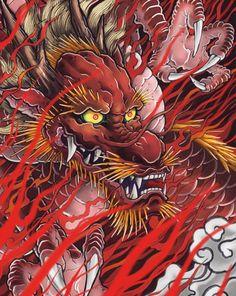 Japanese Dragon Tattoos, Japanese Sleeve Tattoos, Japanese Tatoo, Japanese Art, Dragon Chino Tattoo, Dragons, Asian Tattoos, Japan Tattoo, Japanese Illustration