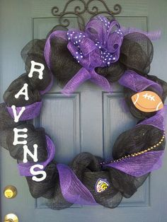 Ravens deco mesh wreath (Football season at Scarlett's Rest is Serious Bidness.)