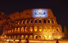 #Rome's Colosseum illuminated with the #UNHCR logo on the night preceding World Refugee Day. UNHCR / T.Kanishcheva / 19 June 2012