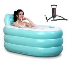 Lucky Woman Fashion Adult SPA Inflatable Bath Tub with Air Pump (Blue Large + Hand pump)