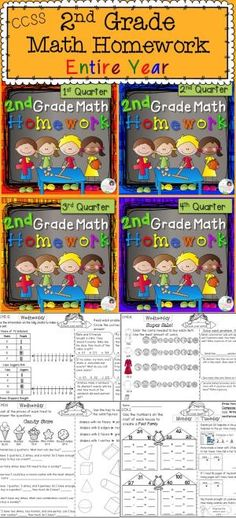 Math homework for the entire year! This resource is a one-page-per-week, one-CCSS domain-per-day, all year homework! Easy for students and parents to understand. Child friendly, but packed with work. by effie