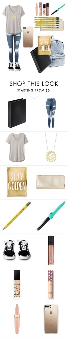 """""""First Day of School Outfit"""" by awesomejpf ❤ liked on Polyvore featuring Topshop, prAna, Ginette NY, Eccolo, Dixon Ticonderoga, PYT, L'Oréal Paris, NARS Cosmetics, Maybelline and Casetify"""