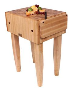 John Boos Pca2cbn Maple Wood End Grain Solid Butcher Block With Side Knife Slot 24 Inches