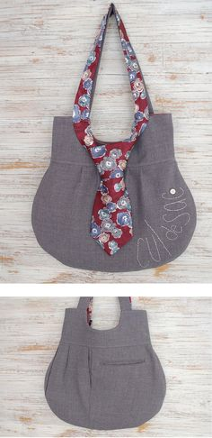 Necktie Bag - made out of men's suit pants - Cul de Sac #eco-friendly #upcycled #sewing