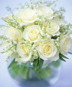 Paula Pryke - white roses and lily of the valley - #floral arrangement